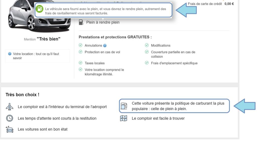 Information concernant le plein d'essence de la voiture