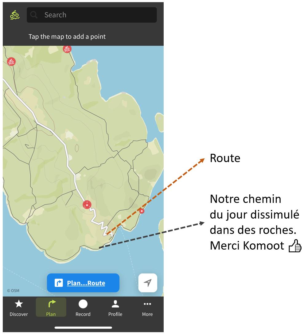 Capture d'écran de l'application komoot sur iPhone