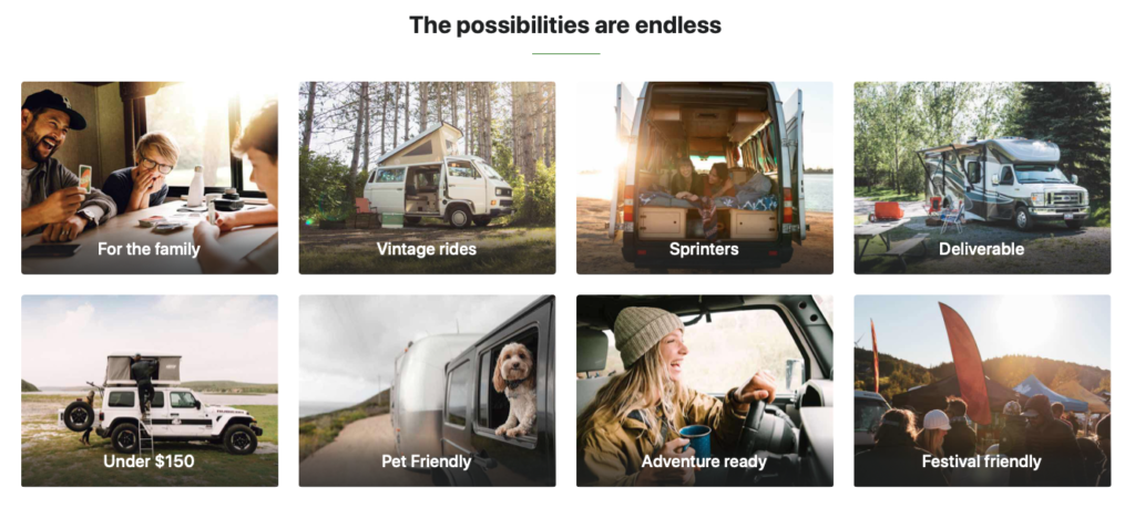 possibilités de vans chez outdoorsy