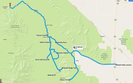 Parcours de notre road trip dans death valley