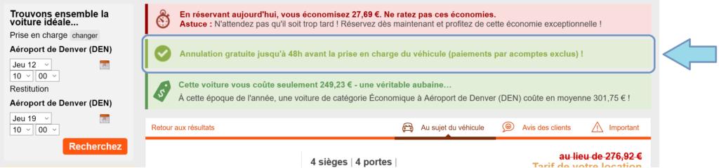 prix de la voiture de location